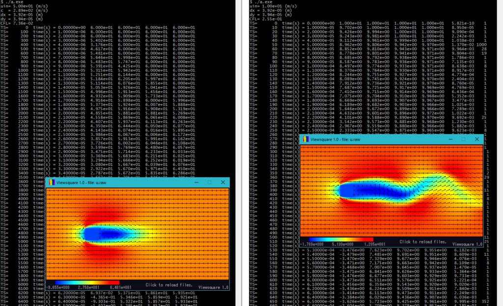 サンプルコード実行による標準出力と流体数値計算途中結果の例(左:圧縮性流体計算、右:非圧縮性流体計算)