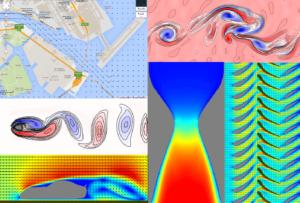 Flowsquareを用いた流体シミュレーション結果の例。左上:多摩川の流速ベクトル、左中:カルマン渦列、左下:自動車周りの流れ、右上:混合層(ケルビン・ヘルムホルツ不安定性)、右下:ジェットエンジン・コンプレッサー、中下:超音速ノズル